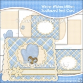 Winter Wishes Mitten Scalloped Tent Card