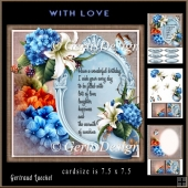 Card Topper With Beautiful Flower and Sentiment 894