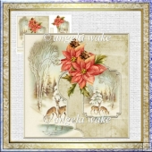 reindeer at the waterhole 7x7 card with decoupage