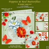 Poppies & Red Butterflies