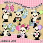 Little Panda Bears Birthday Wishes ClipArt Graphic Collection
