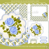 Blue Roses Scallop Rocker Card