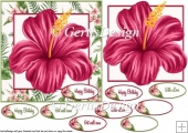 Hibiscus 6 inches card topper 101
