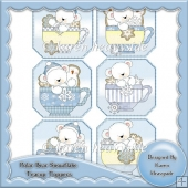 Polar Bear Snowflake Teacup Toppers