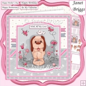 PUPPY & BUTTERFLIES 7.5 Decoupage & Insert Card Kit