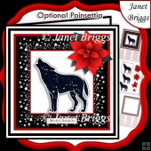 STARRY WOLF & POINSETTIA Christmas or Birthday 7.5 Quick Card