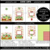 Christmas Poinsettia Cards, Envelopes and Craft Papers