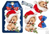 cute bear on a blue tag with santa hat and bow