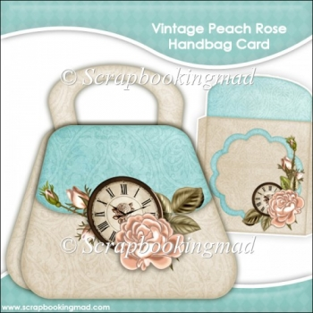 Vintage Peach Rose Handbag Card