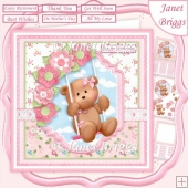 TEDDY BEAR SWING 7.5 Decoupage & Insert Card Kit