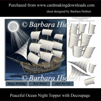 Peaceful Ocean Night Topper with Decoupage