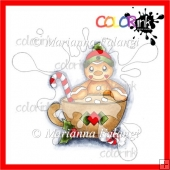 Gingerbread Cup Man color digital stamp!