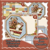 Raggedy Bear 2 In Christmas Bowl Octagon Tag Card