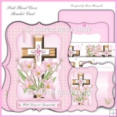 Pink Floral Cross Bracket Card
