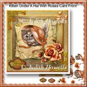 Kitty Under A Hat With Roses Card Front