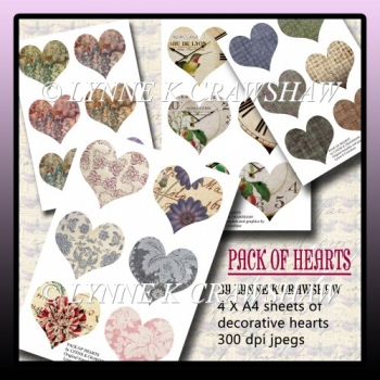 PACK OF HEARTS 4 X A4 digital Valentine collage hearts