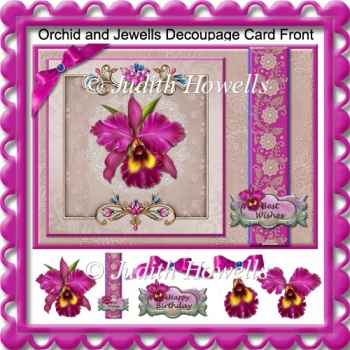 Orchid and Jewells Decoupage Card Front
