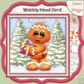 CHRISTMAS GINGERBREAD MAN WOBBLY HEAD CARD 7.5 Decoupage Kit