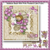 Mailbox Bear With Pink Flowers Card Front