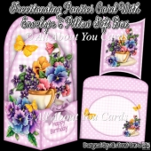 Freestanding Pansies Card & Envelope & Pillow Gift Box