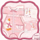 Baby Girl Romper Suit Shaped Card Mini Kit