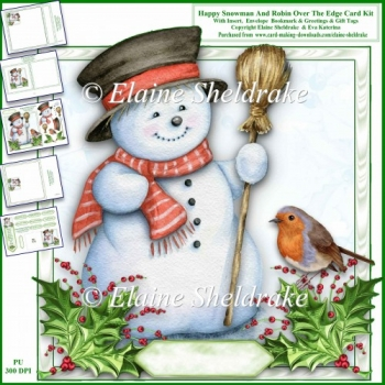 Happy Snowman & Robin 8 x 8 Over The Edge Card Kit With Extras