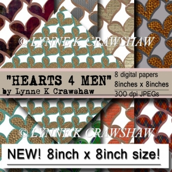 HEARTS 4 MEN - 8 digital papers 8in x 8in - CUOK