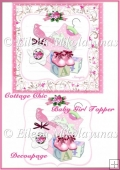 Cottage Chic Baby Girl Topper with Decoupage