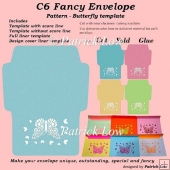 C6 Fancy Envelope - Pattern - Butterfly template