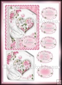 Hearts and Flowers Cottage Chic Valentine Card Topper