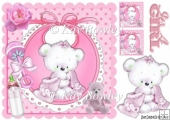cuddle teddy with pink blanket on bib 8x8