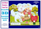 Cat & Mouse Strawberry Tea - Pop Up Easel Card Kit