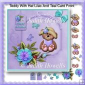 Teddy With Hat Lilac And Teal Card Front