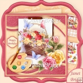 Artist's Canvas Rose Basket 7.5 Decoupage Kit