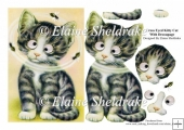 Cross Eyed Kitten Cat - Rectangular Card Topper With Decoupage