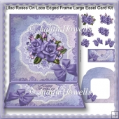 Lilac Roses On Lace Edged Frame Large Easel Card Kit