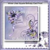 Winter Lilies Square Birthday Card Front