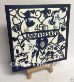 45th Sapphire Wedding Anniversary Card SVG cutting file