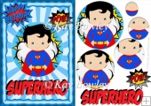 Super hero in blue with captions A5 Pyramids