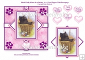 Black Fluffy Kitten In A Basket - 6 x 6 Card Topper & Decoupage