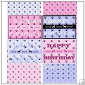 Dog Paw Happy Birthday Card Front x 4