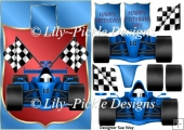 Blue Racing Car Card Front and Decoupage