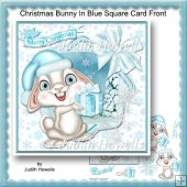 Christmas Bunny In Blue Square Card Front