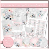 Raccoons In Love Gold Birthday Party Set