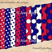 Retro Dots Red White n Blue A4 Papers