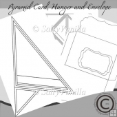 Pyramid Card with Envelope and little tree hangers Template