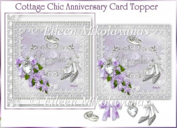 Cottage Chic Lilac Anniversary/Wedding Card Topper w/ Decoupage