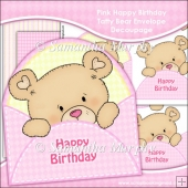 Pink Happy Birthday Tatty Bear Envelope Decoupage