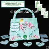 Spring Blossoms Green Designer Handbag Card Kit Insert & Verse