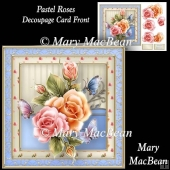 Pastel Roses - Decoupage Card Front